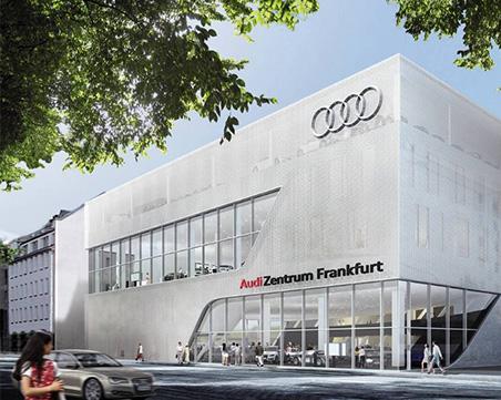 Konzeptrendering des Audi Zentrum Frankfurt.
