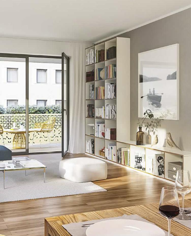 Modern ausgestattetes Wohnzimmer mit Balkon.