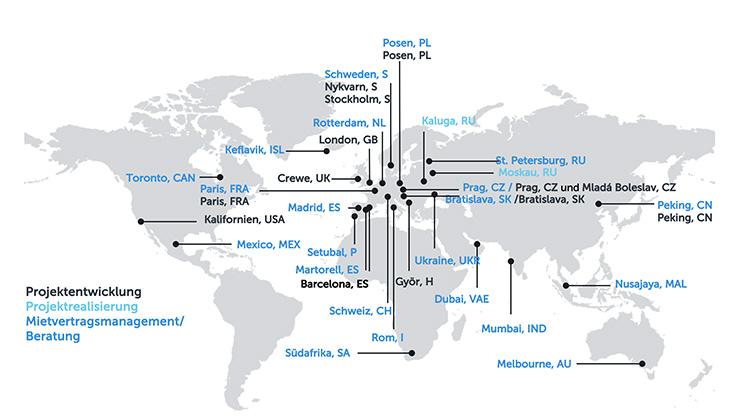 Weltkarte mit Beschriftung der internationalen Aktivitäten