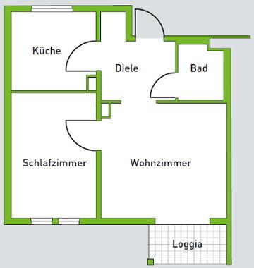 Grundriss WIR 2-Zimmer-Wohnung