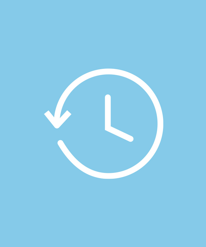 Uhren-Icon auf hellblauem Hintergrund