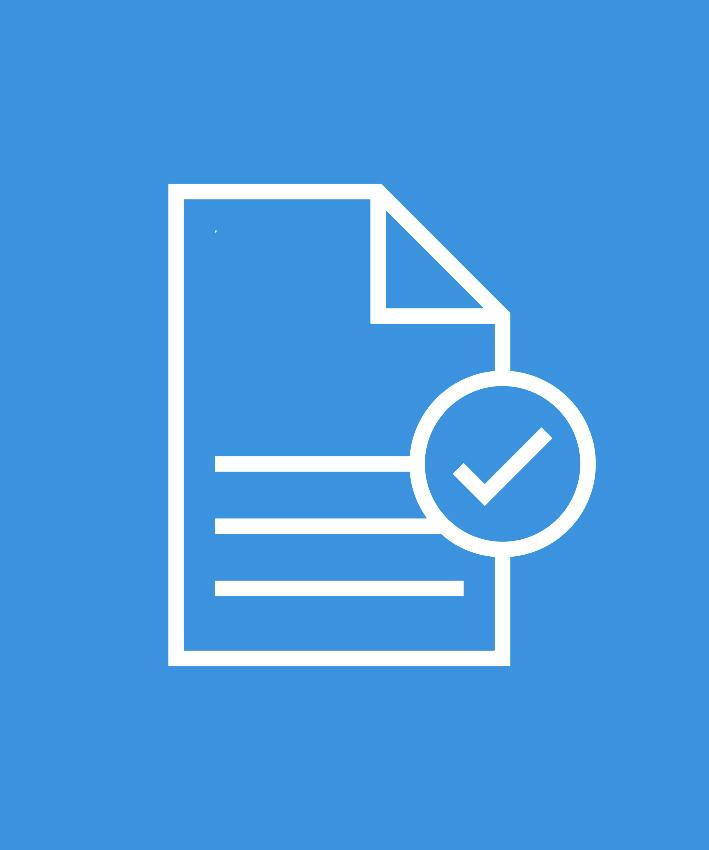 Papier mit Haken als Icon auf dunkelblauem Hintergrund