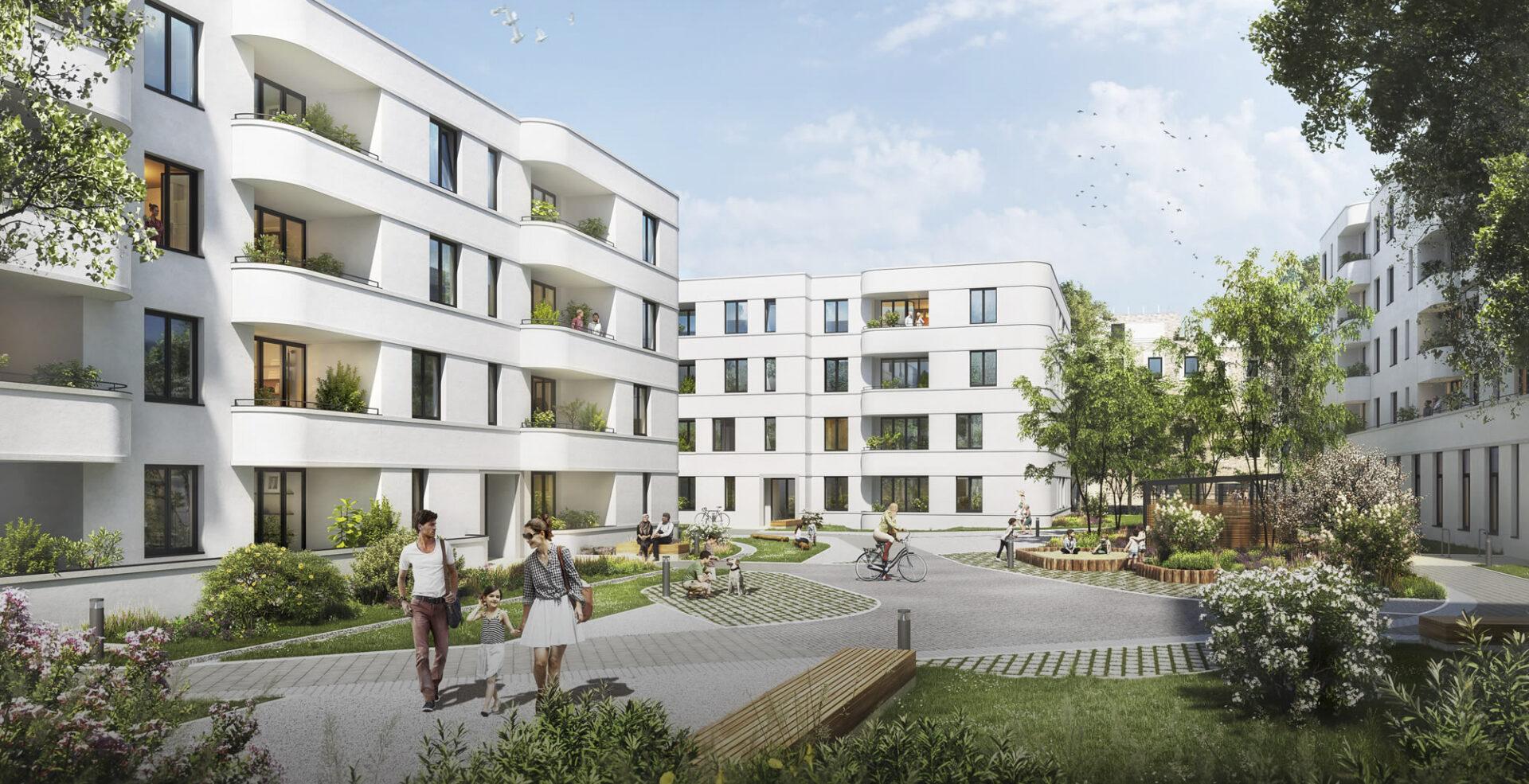 Gebäudegruppe Lindenhöfe mit Parkanlage.