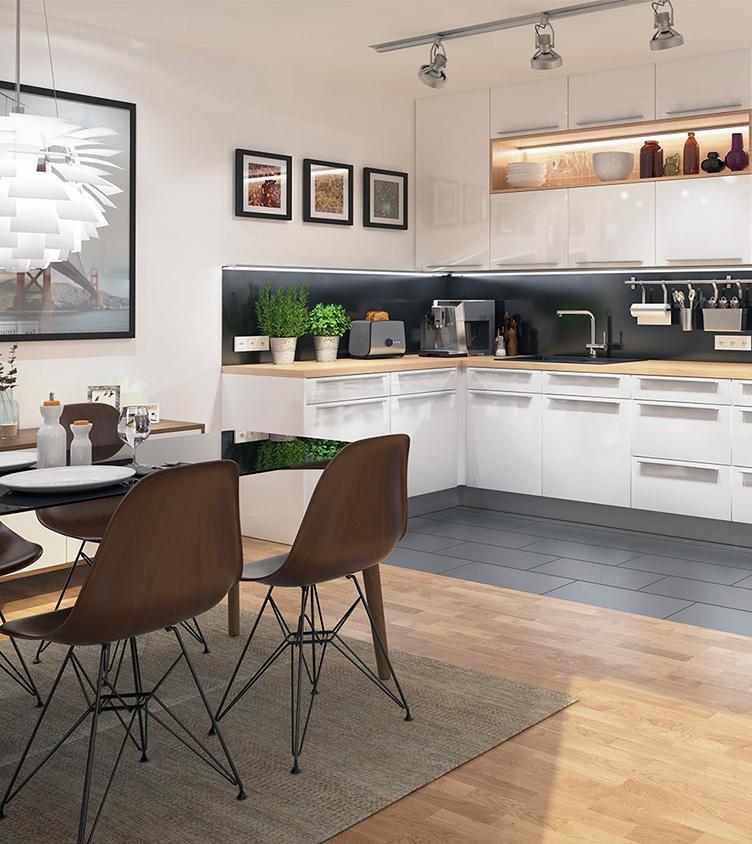 Küche und Esszimmer in einer Wolfs|Garten Wohnung.