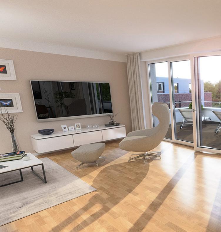 Wohnzimmer in einer Wolfs|Garten Wohnung.